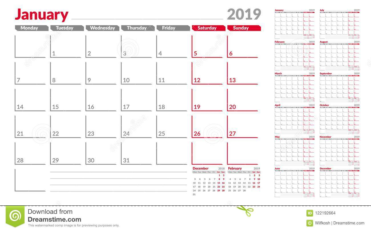Calendar Planner Template 2019. Week Start From Monday. Set