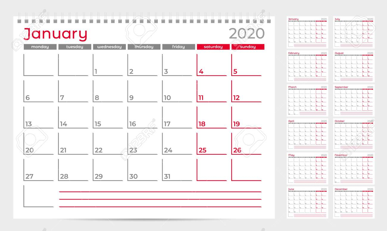 Calendar Planner Template 2020. Week Start From Monday. Set Of..