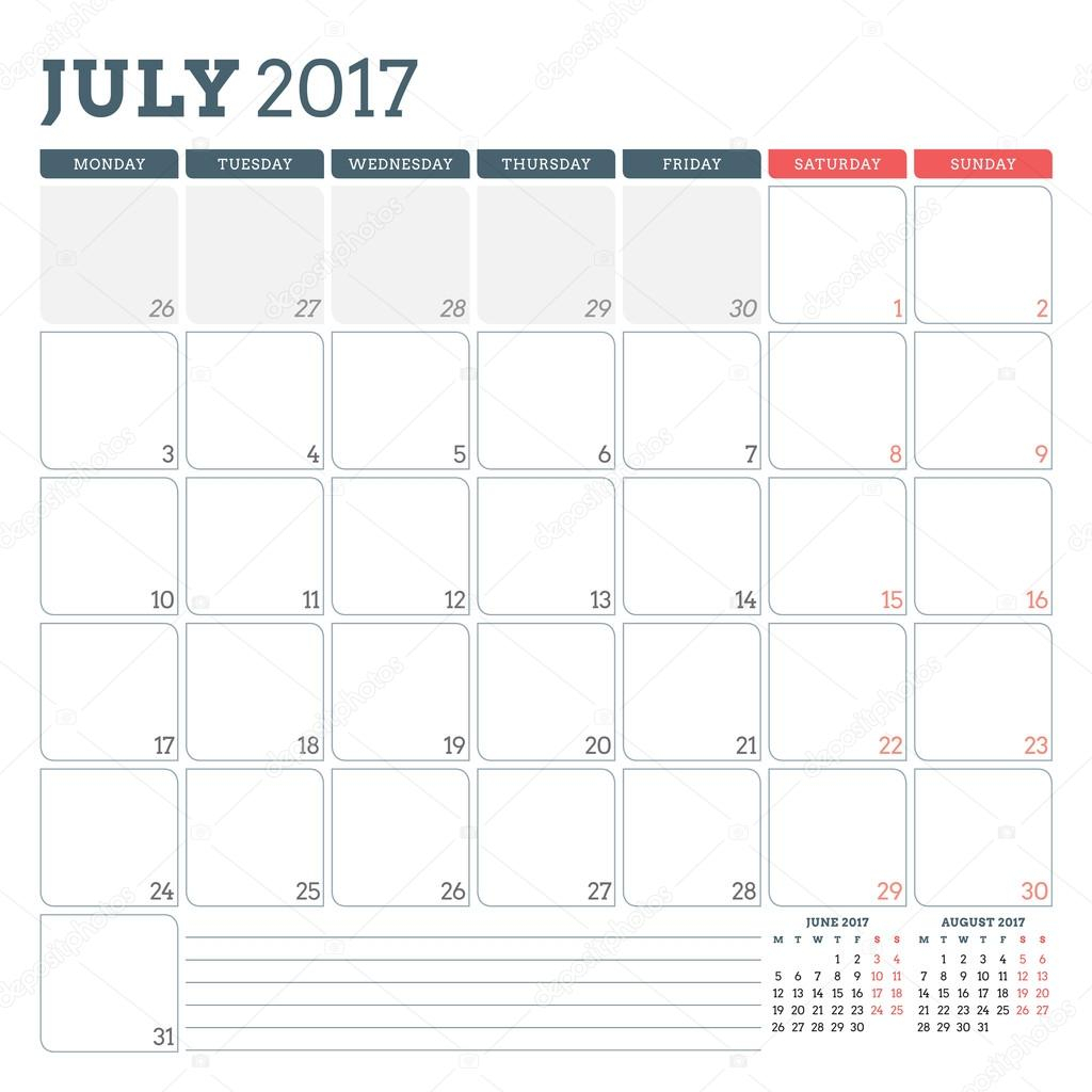 Calendar Planner Template For July 2017. Week Starts Monday