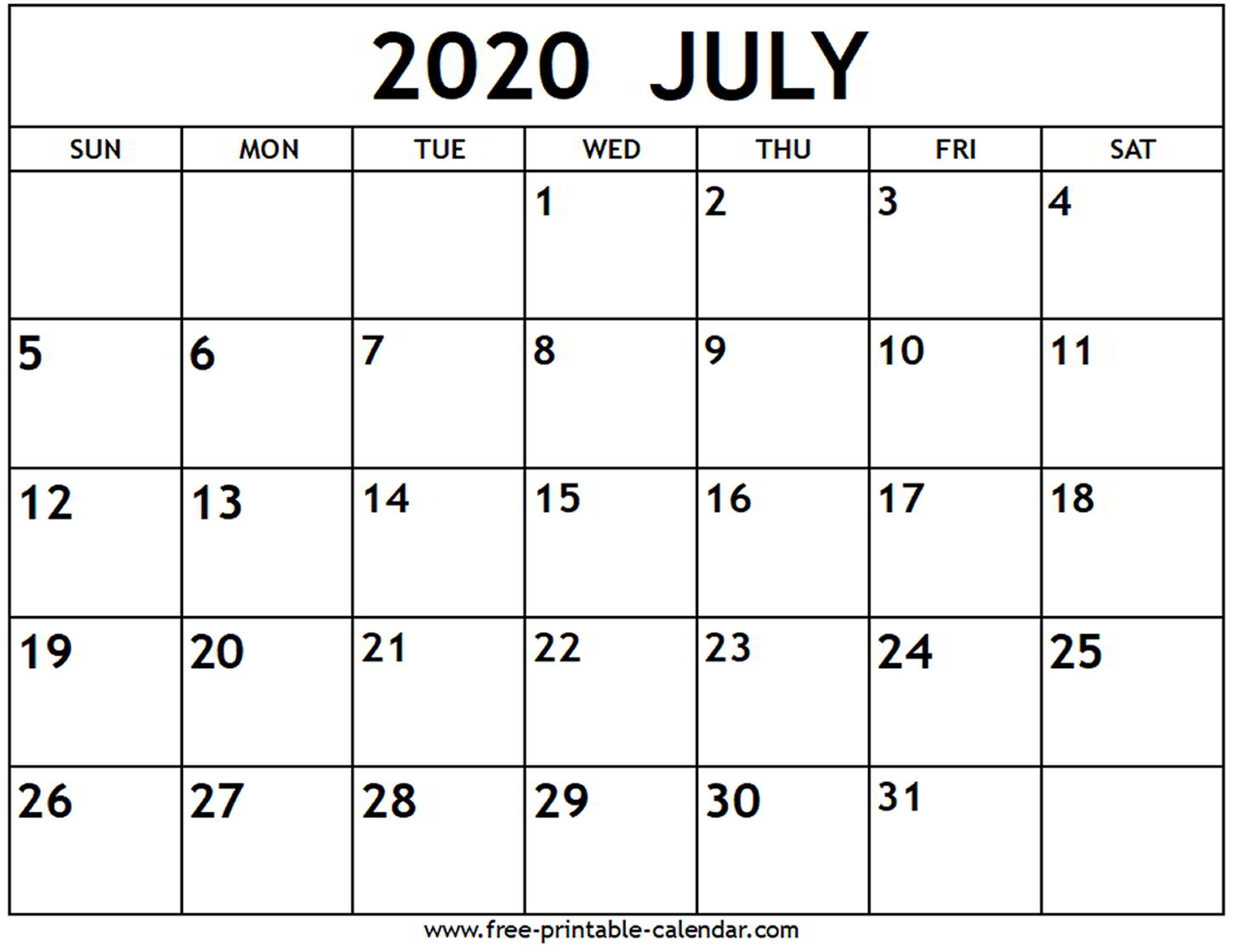 Calendar Printable July 2020 - Tunu.redmini.co
