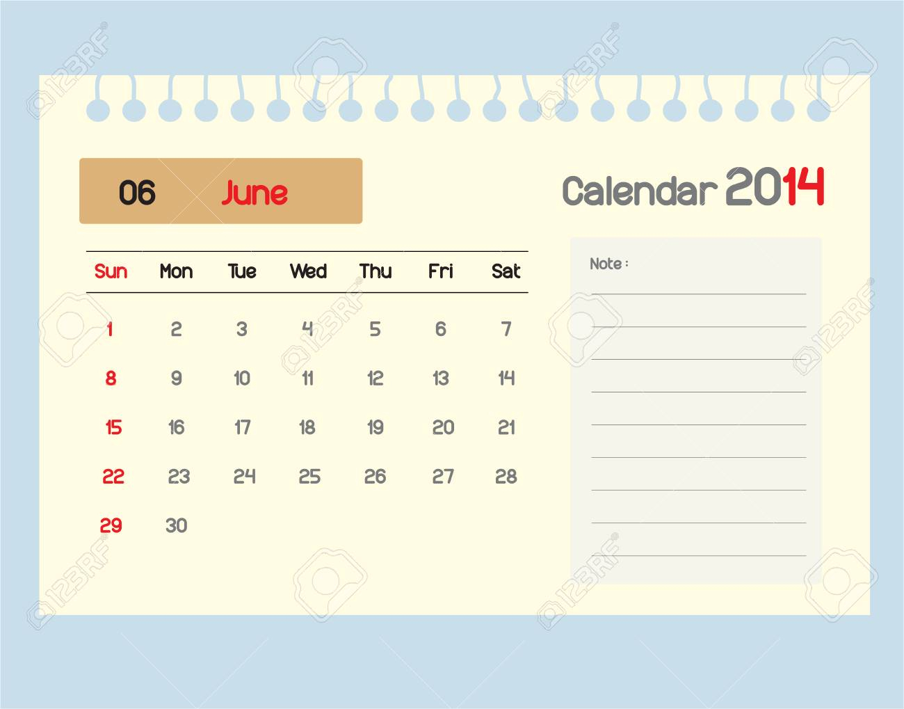 Calendar To Schedule Monthly. June.