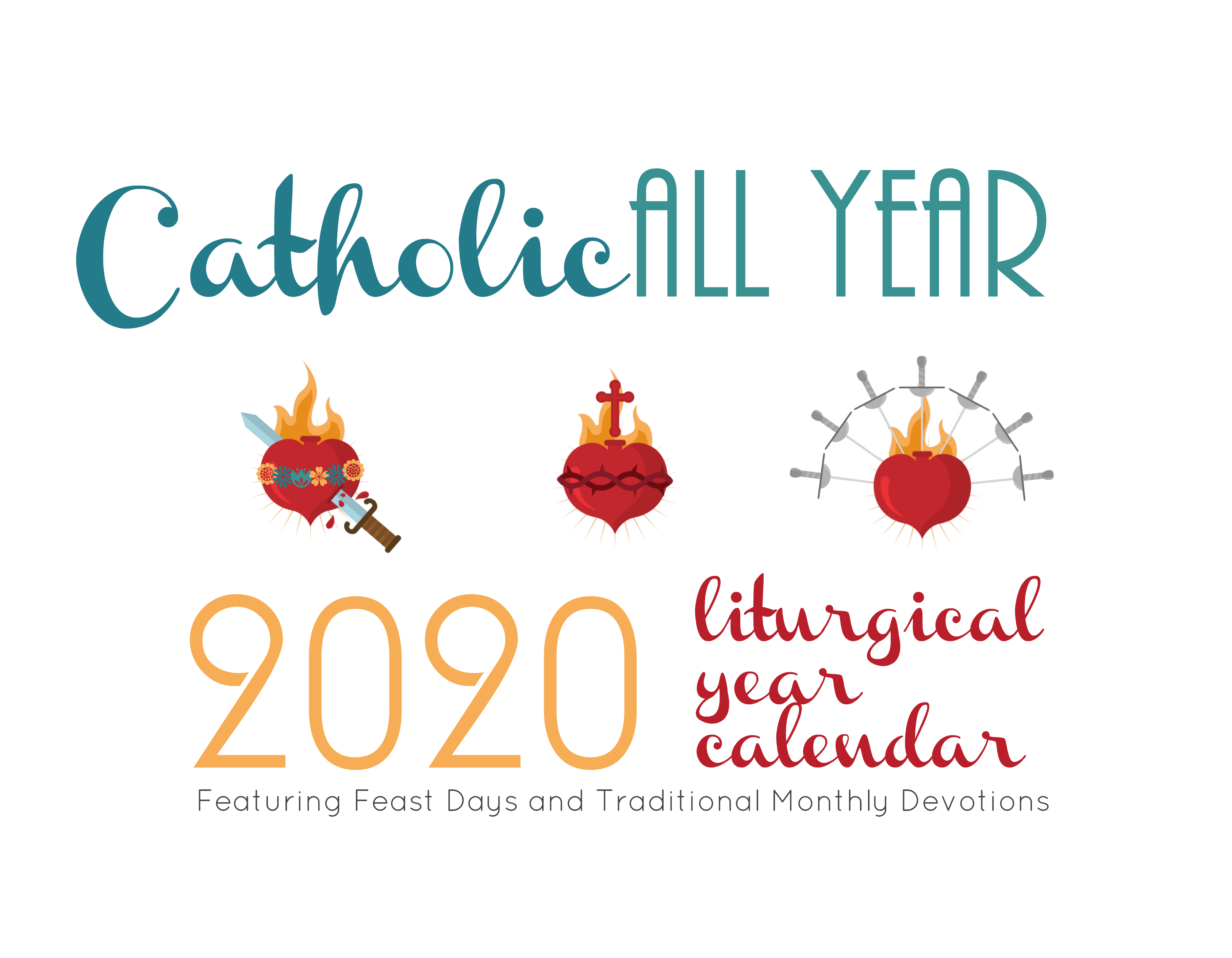 Catholic All Year 2020 Monthly Devotions Liturgical Year Calendar *digital  Download*