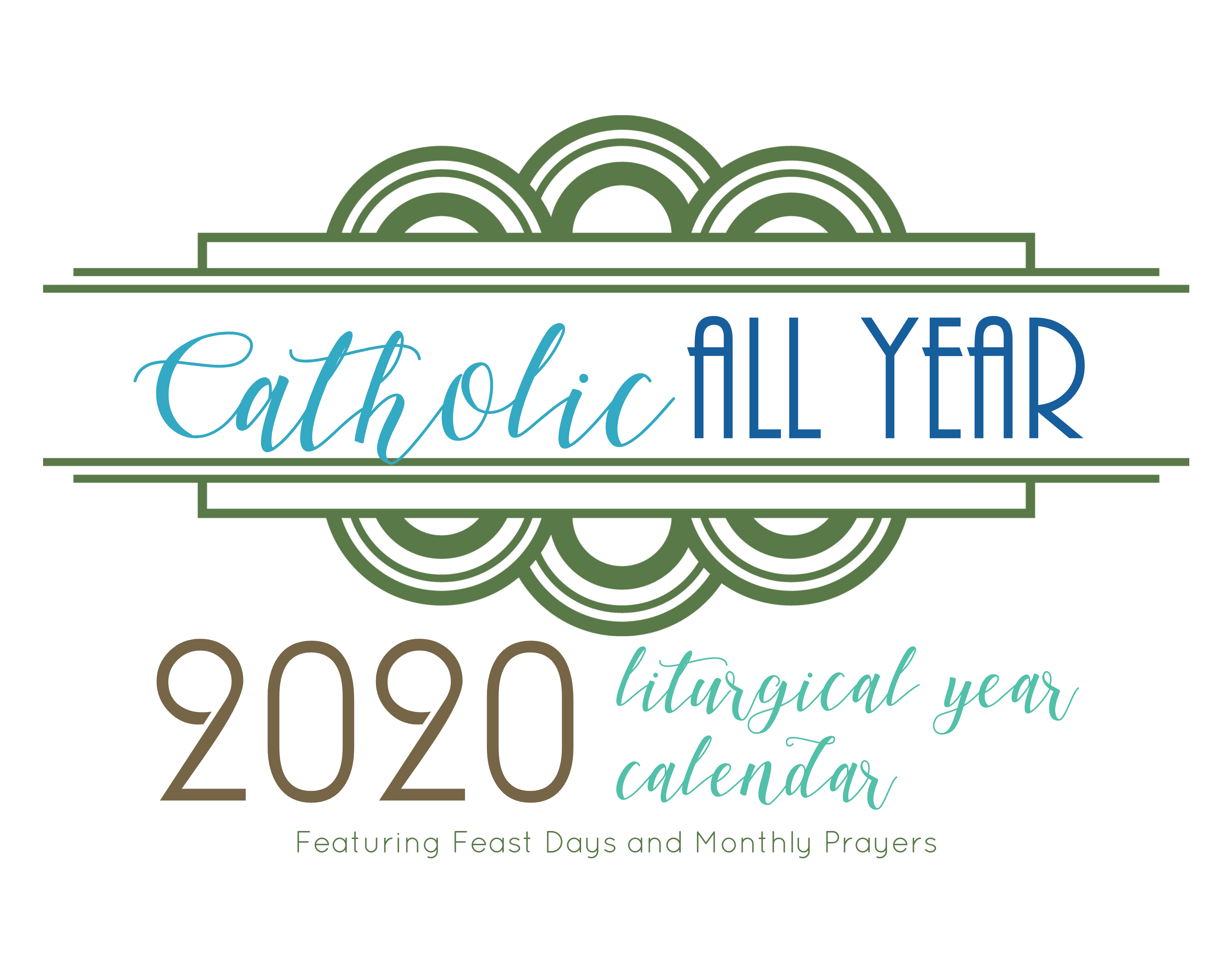 Catholic All Year 2020 Monthly Prayers Liturgical Year Calendar *digital  Download*