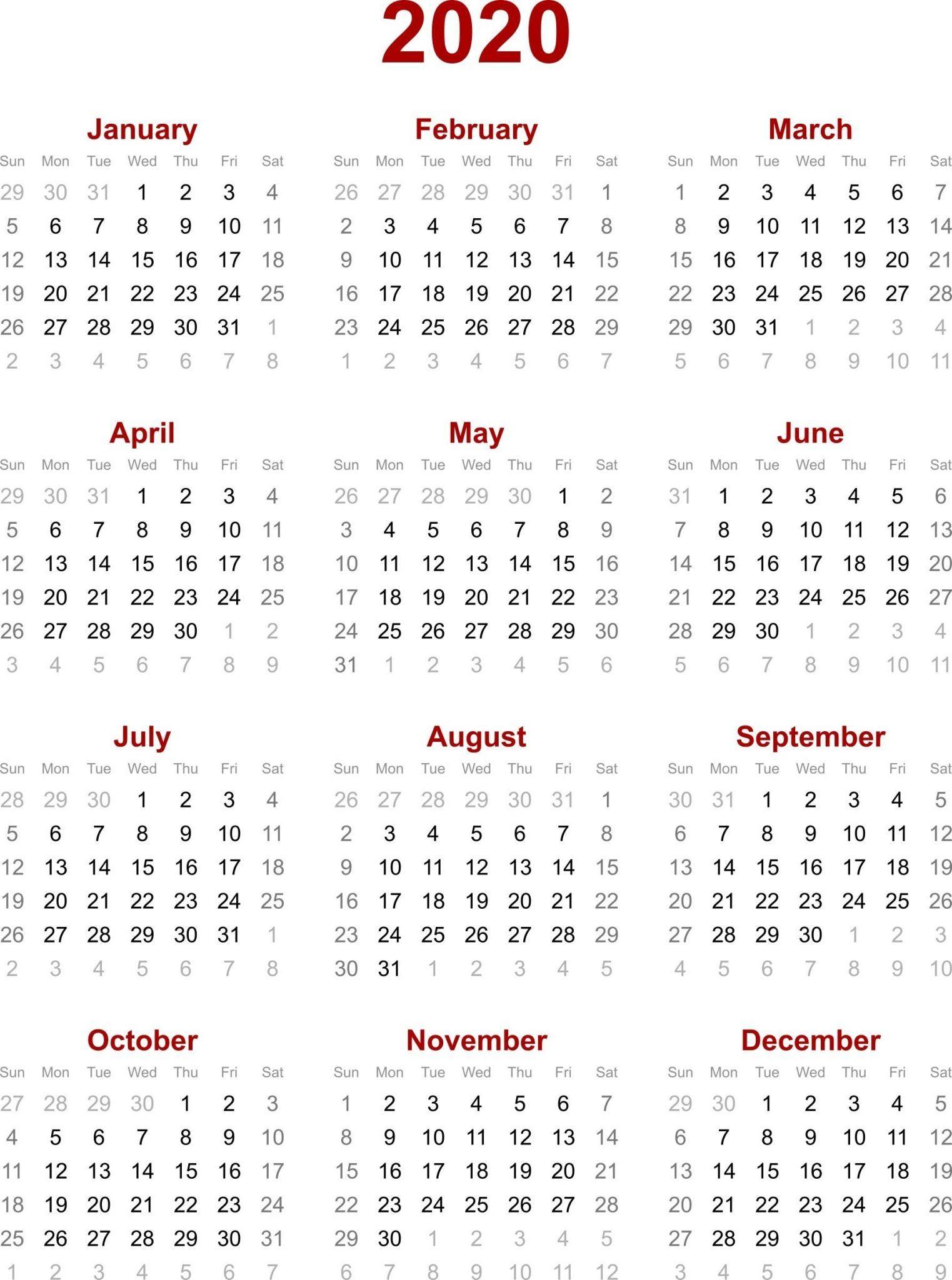 Chinese Calendar 2020 Printable Template | 2020 Calendar