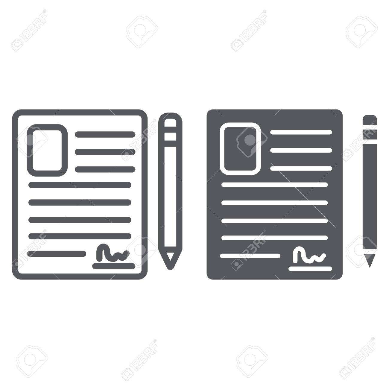 Contact Form Line And Glyph Icon, Blank And Register, Document..