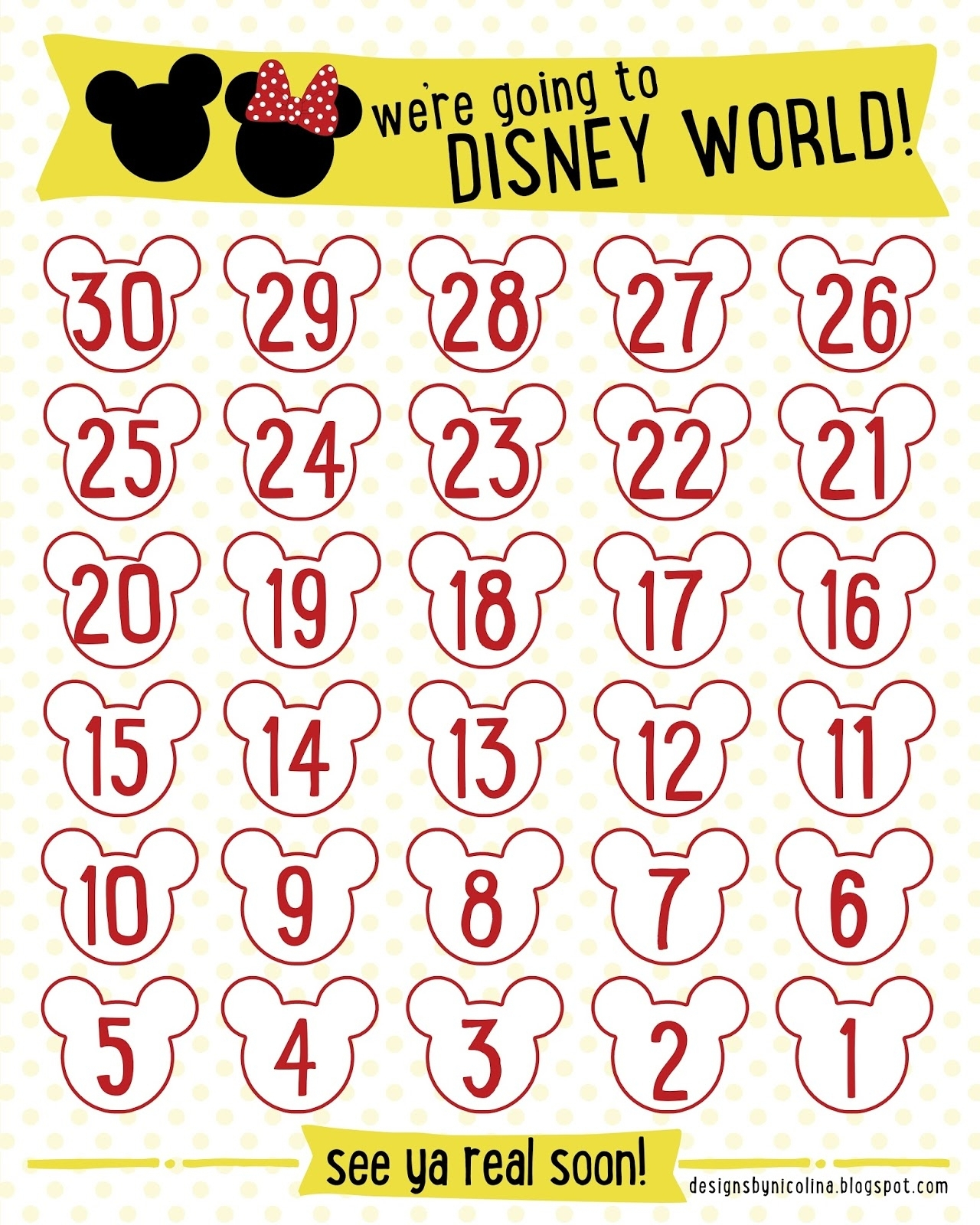 Countdown Calendar Printable Vacation | Free Calendar