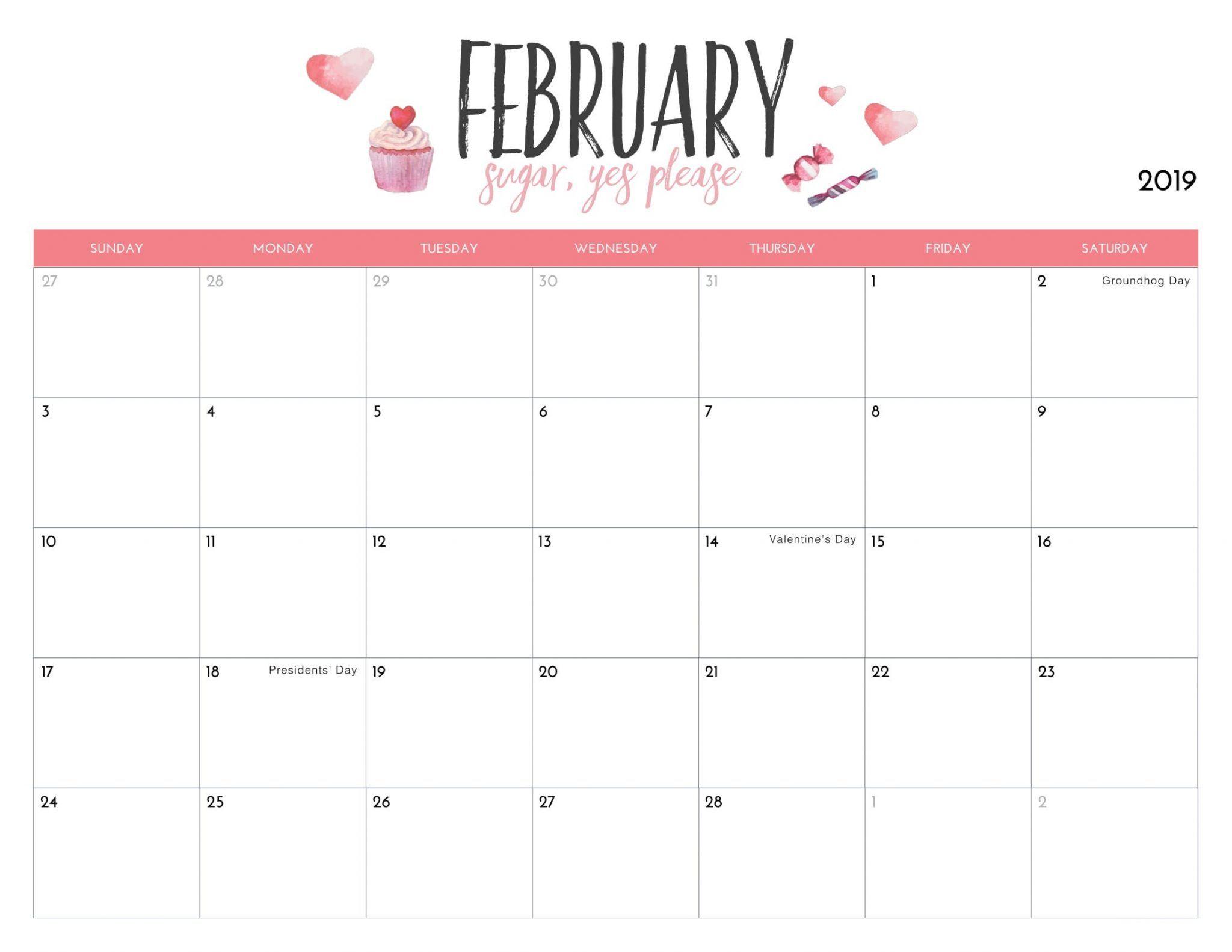 Cute February 2019 Calendar Printable #feb #february2019