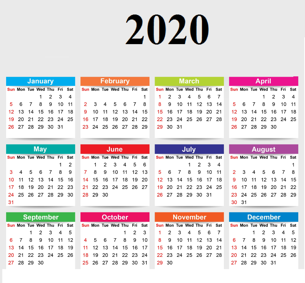 Cute Yearly 2020 Calendar Printable | Free Printable