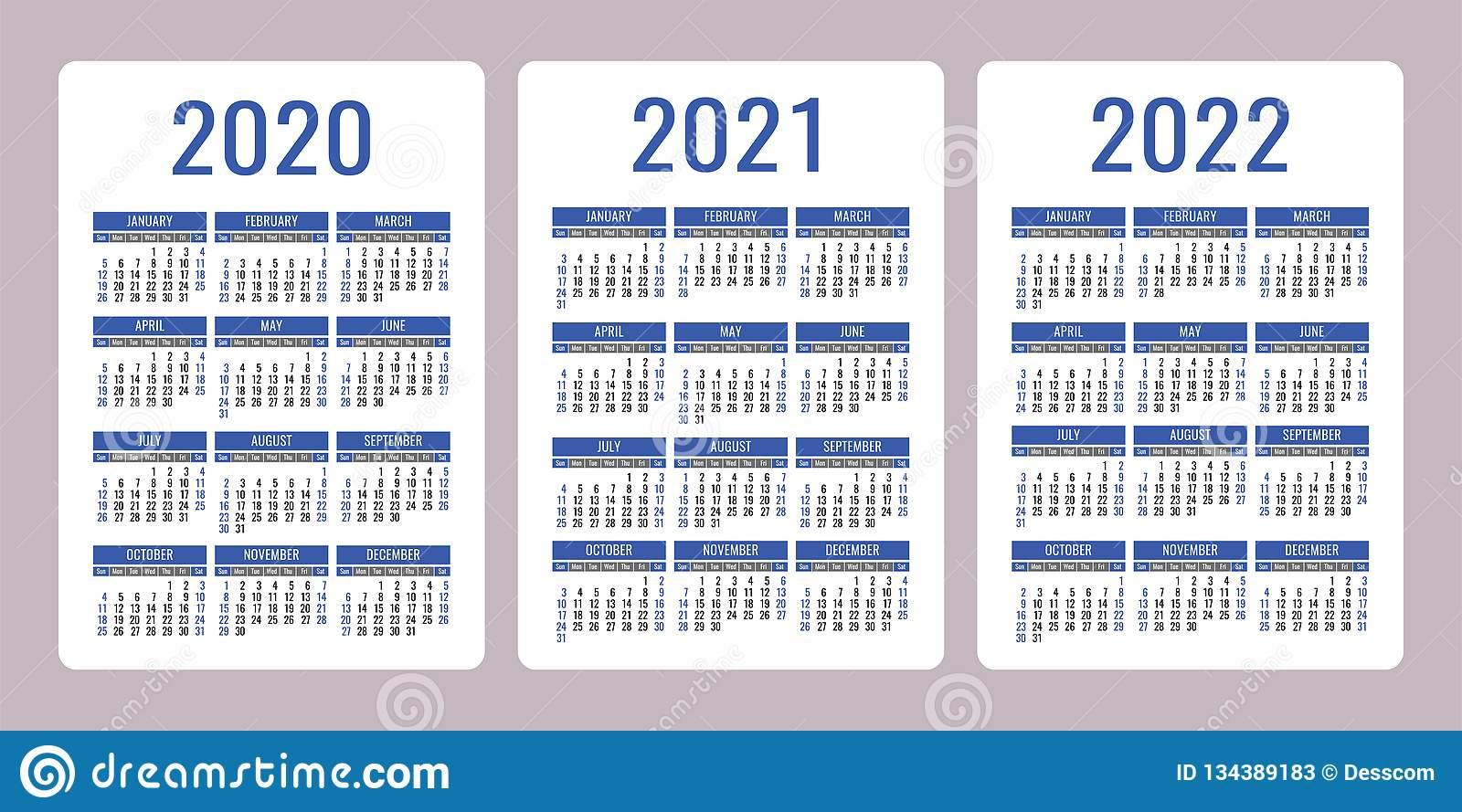 Календарь 2020, 2021, 2022 Лет Вертикальный Шаблон Дизайна