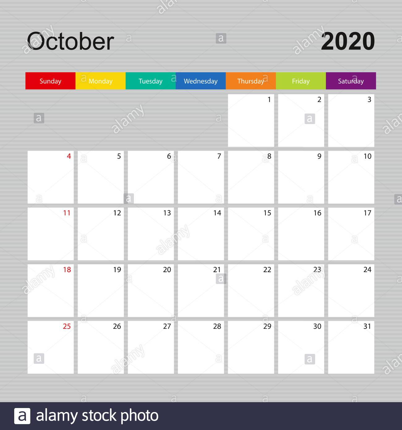 Сalendar Page For October 2020, Wall Planner With Colorful