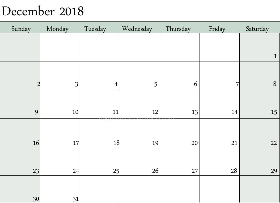 December 2018 Calendar Monday To Sunday | December 2018