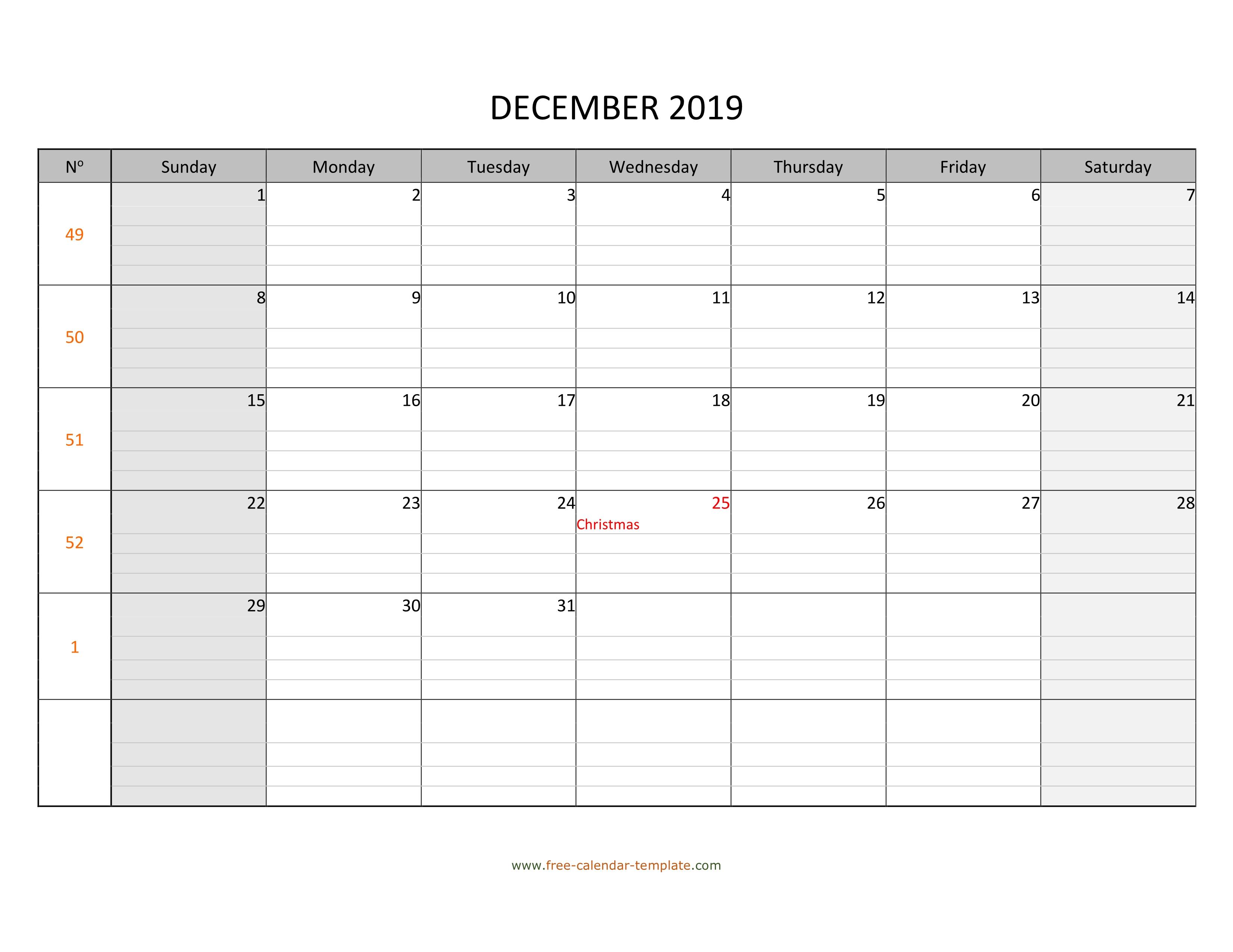 December 2019 Calendar Free Printable With Grid Lines