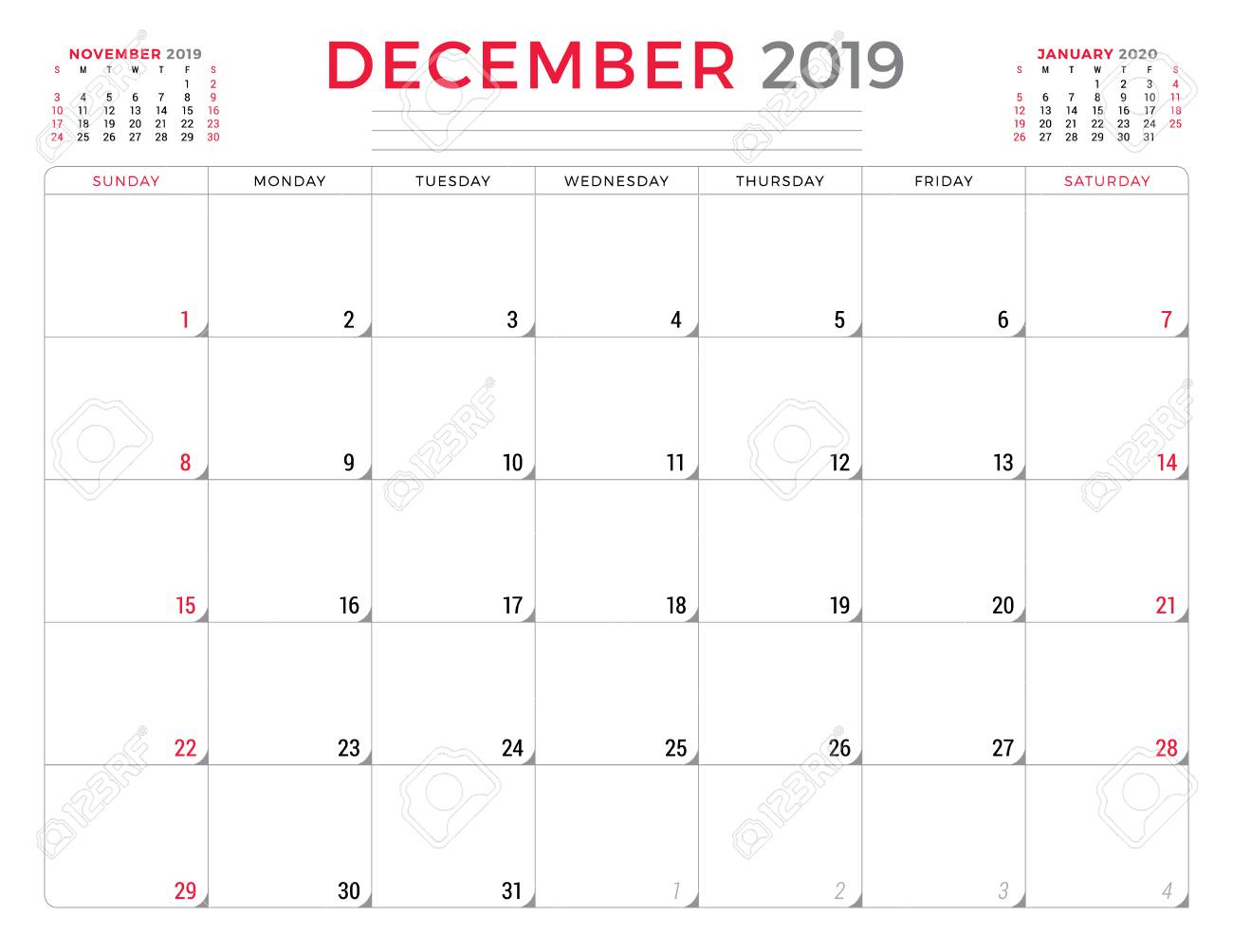 December 2019. Calendar Planner Stationery Design Template. Vector  Illustration. Week Starts On Sunday