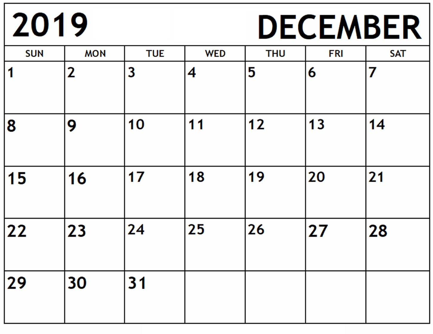 December 2019 Calendar Printable Daily, Monthly, Weekly
