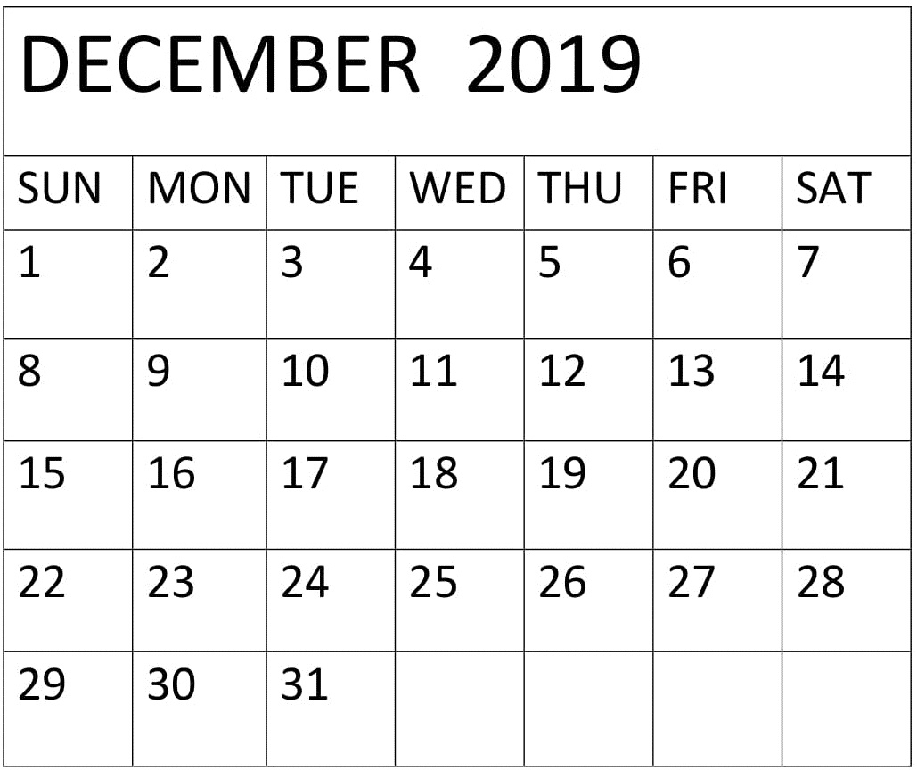 December 2019 Calendar Printable Free Download - Latest