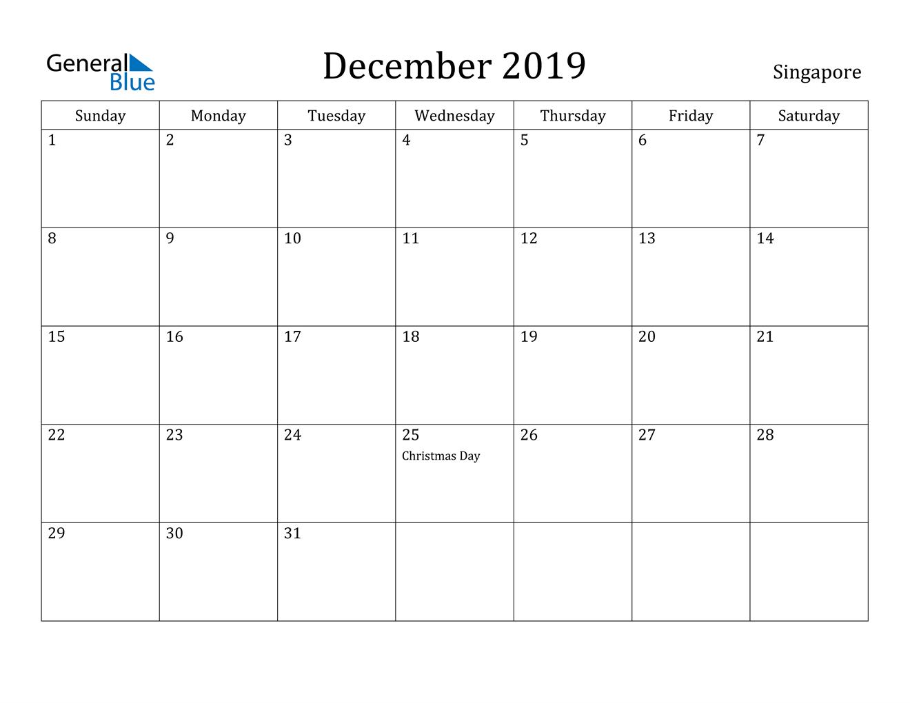 December 2019 Calendar - Singapore