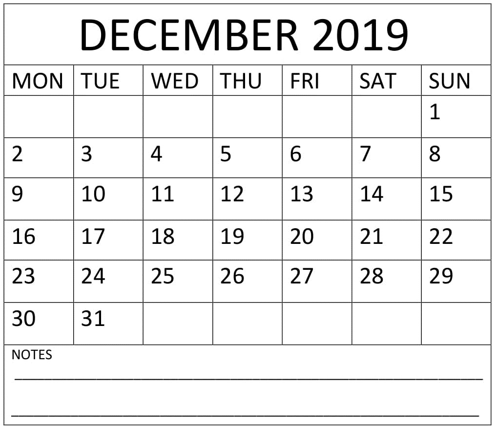 December 2019 Calendar With Week Numbers – Free Latest