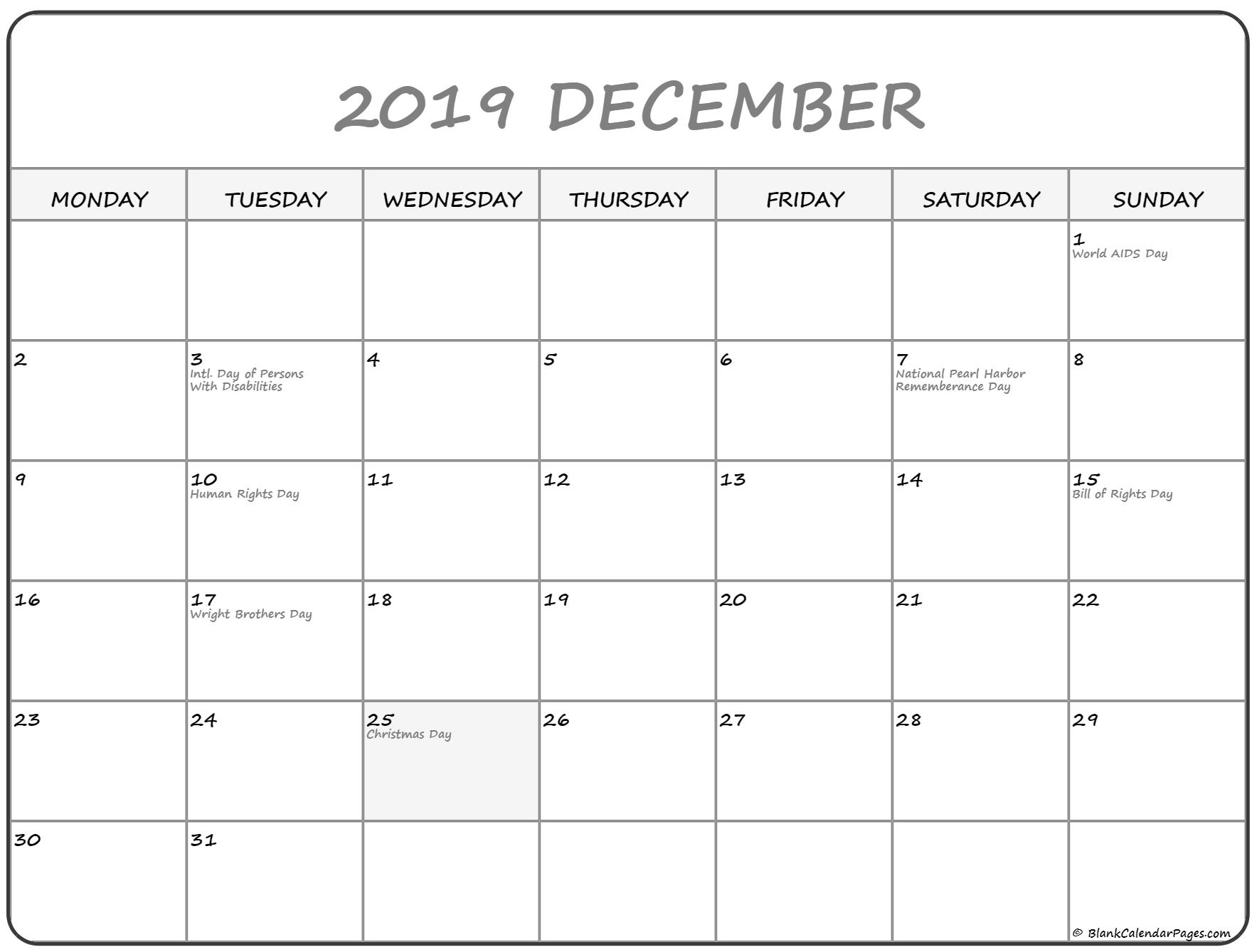 December 2019 Monday Calendar | Monday To Sunday
