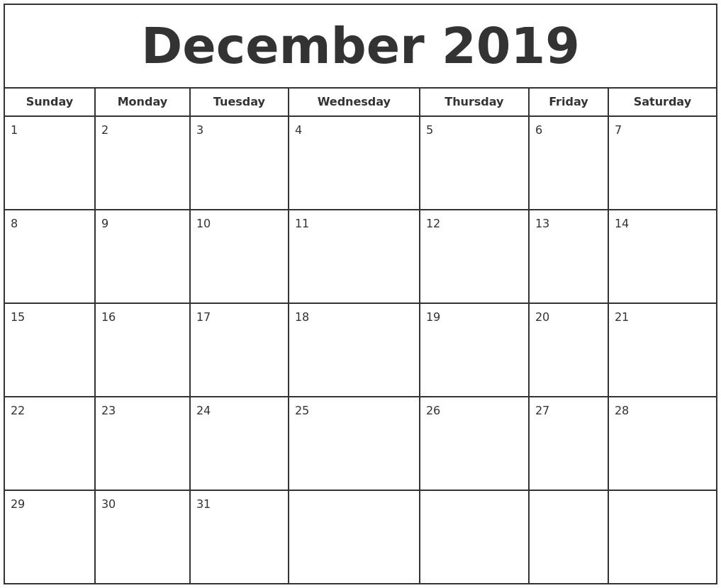 December 2019 Print Free Calendar