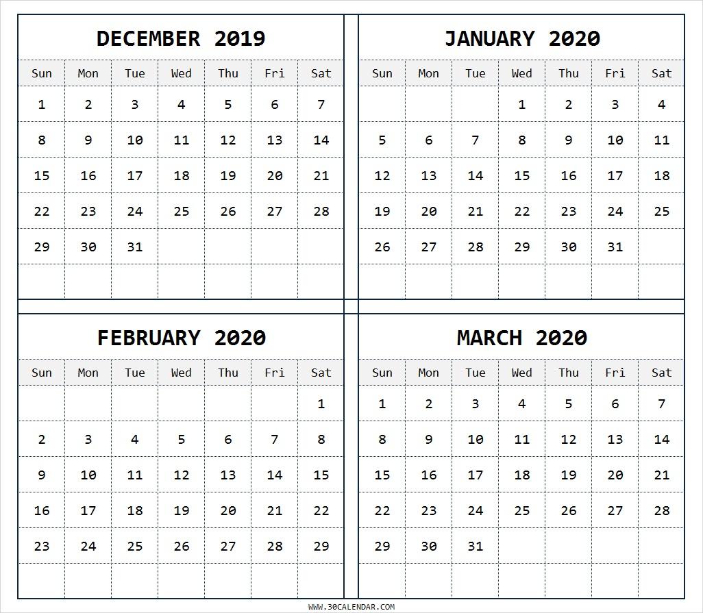 December 2019 To March 2020 Calendar | 4 Months Printable