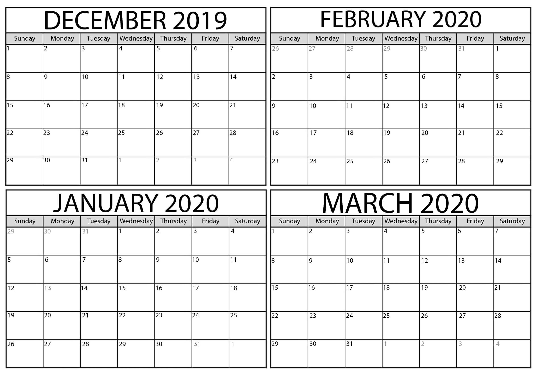 December 2019 To March 2020 Calendar Sheets - 2019 Calendars