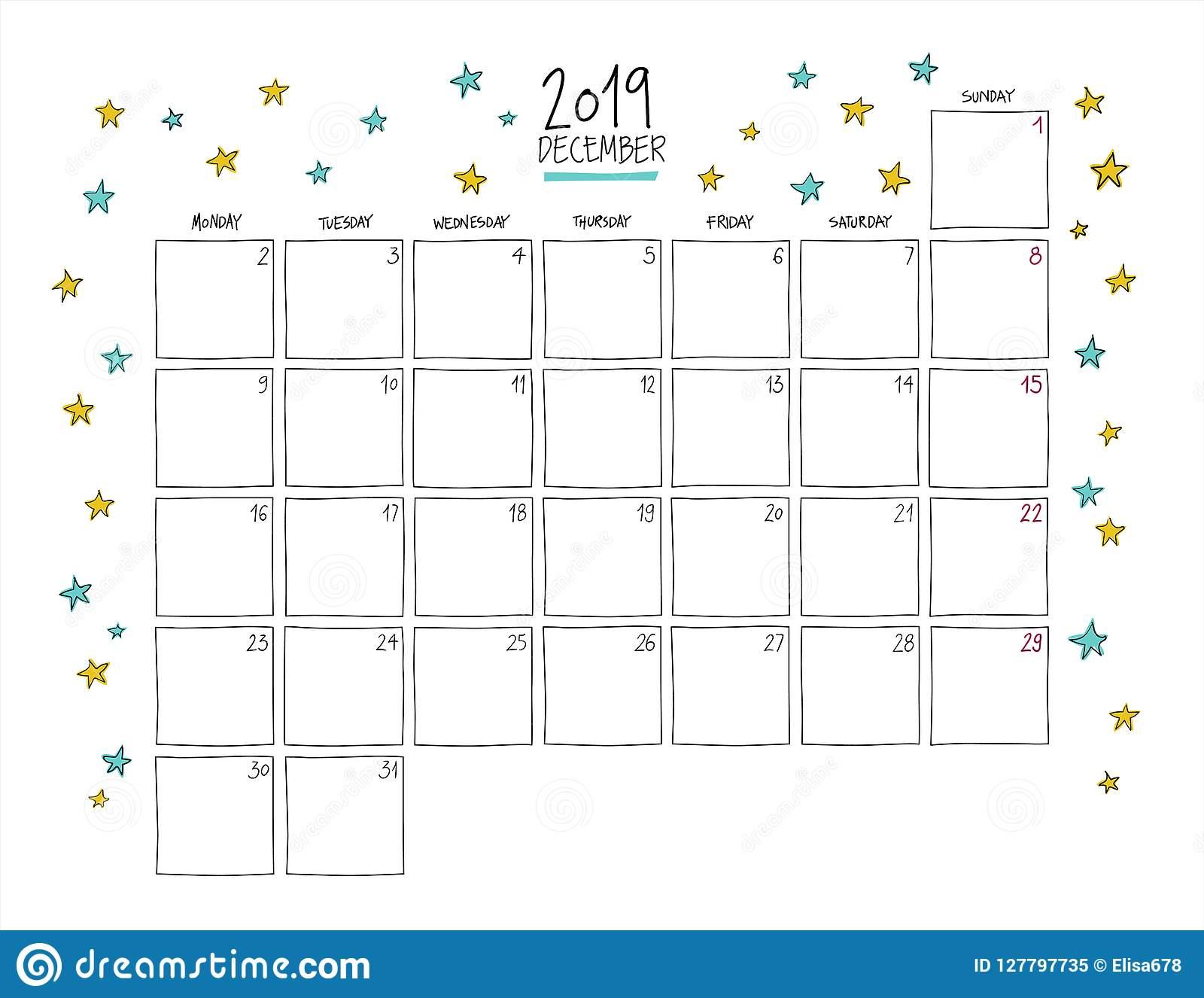 December 2019 Wall Calendar. Doodle Style. Stock Vector