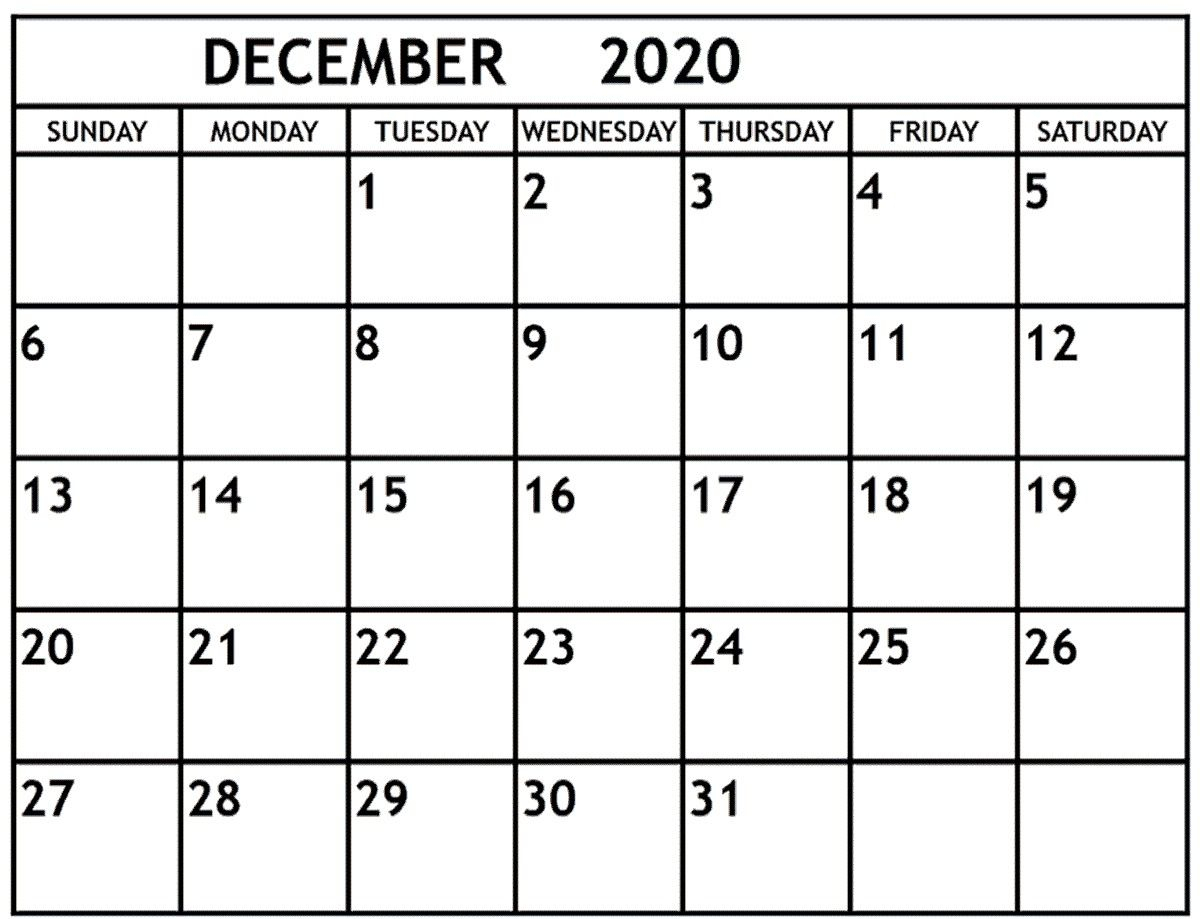 December 2020 Calendar December 2020 Printable Monthly