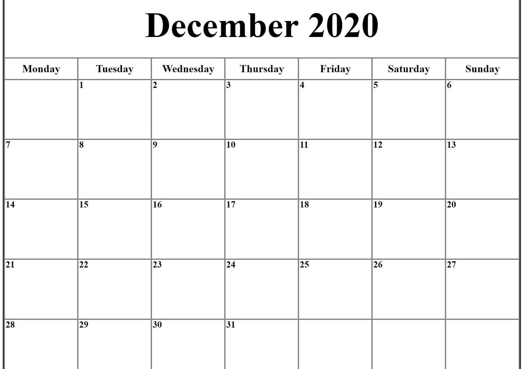 December 2020 Calendar Excel   December Calendar, Printable