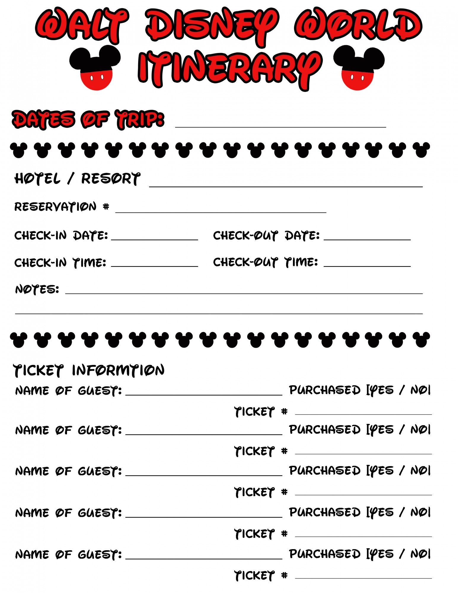 Disney Agenda & Itinerary Free Printable | Disney Vacations