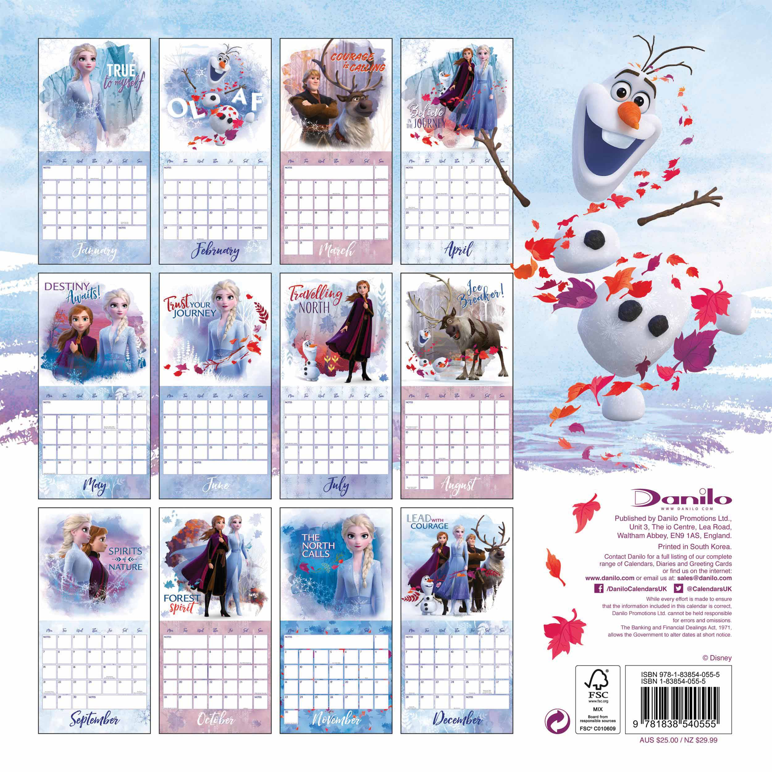 Disney, Frozen 2 Official Calendar 2020 - Calendar Club Uk