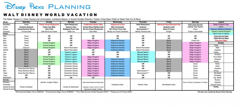 Disney Itinerary Template - Tunu.redmini.co