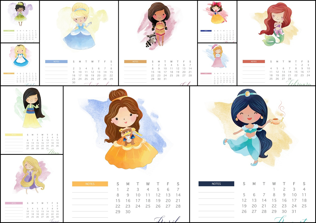 Disney Princess 2018 Free Printable Calendar. - Oh My Fiesta