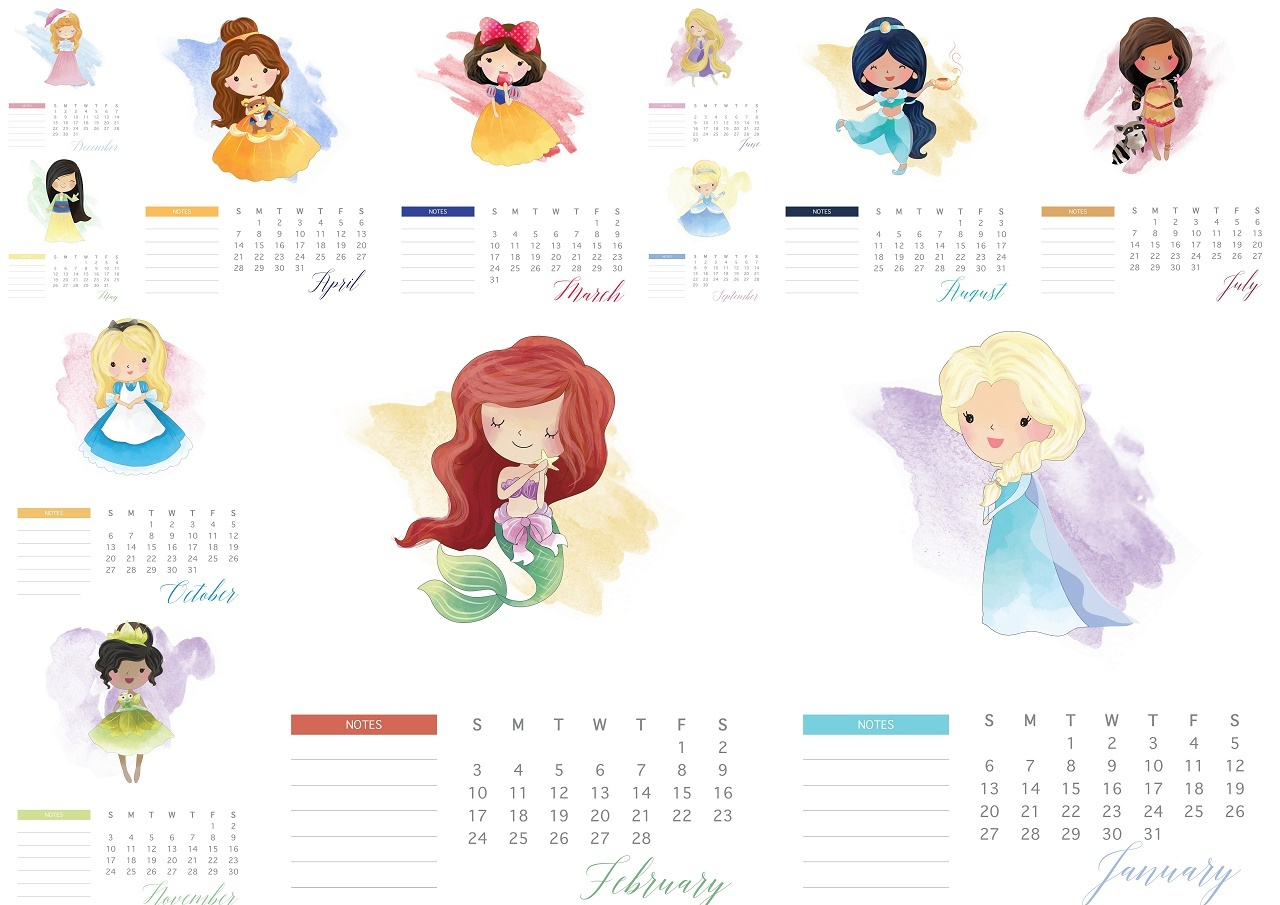 Disney Princess 2019 Free Printable Calendar. - Oh My Fiesta