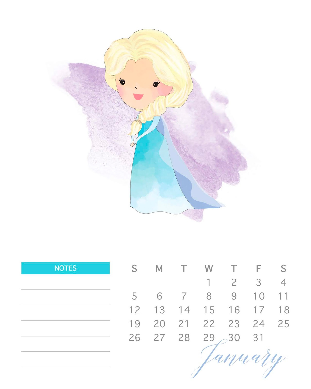 Disney Princess: Free Printable 2020 Calendar. - Oh My