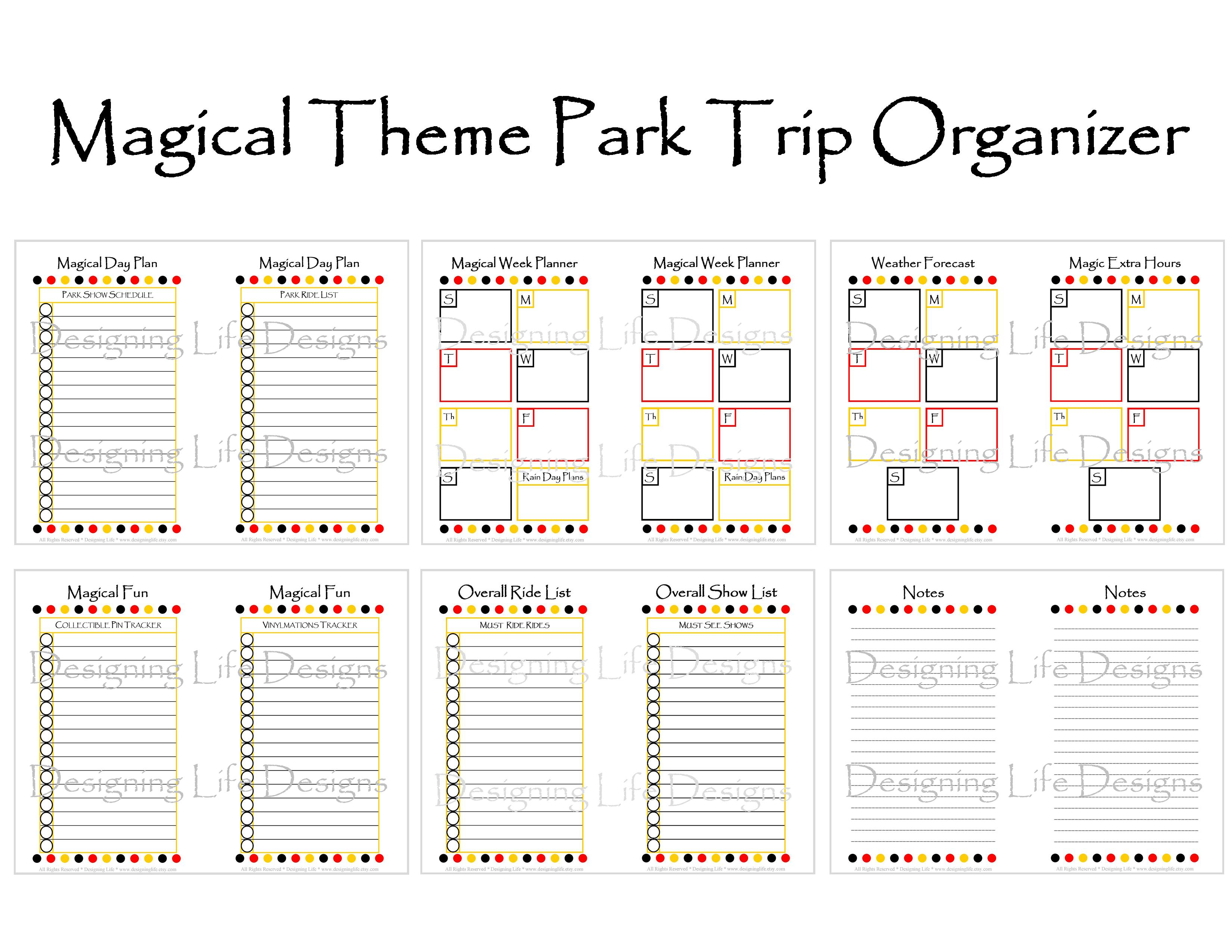 Disney Vacation Planner Template ] - Vacation Planning