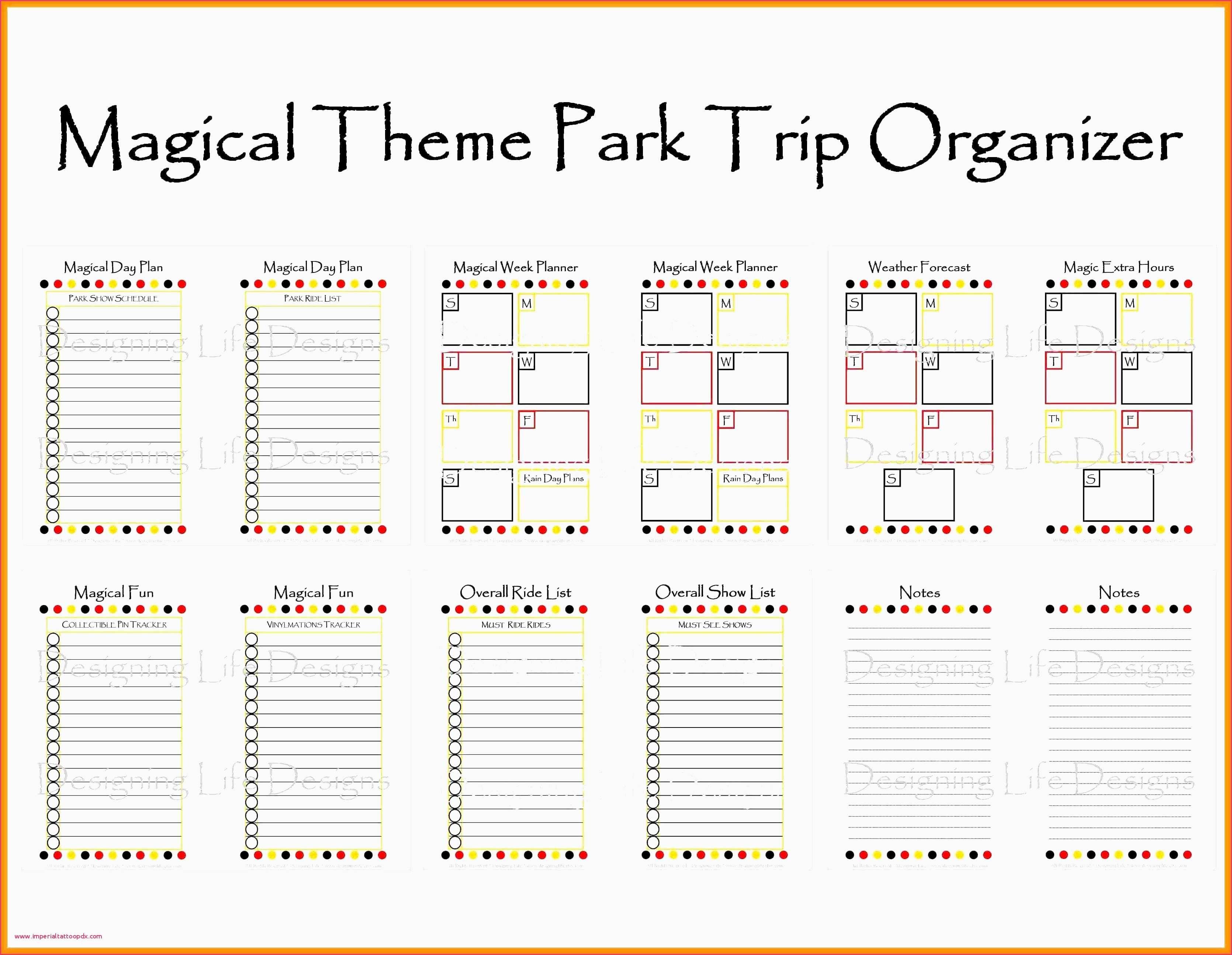 Disney World Blank Itinerary Template Calendar Template