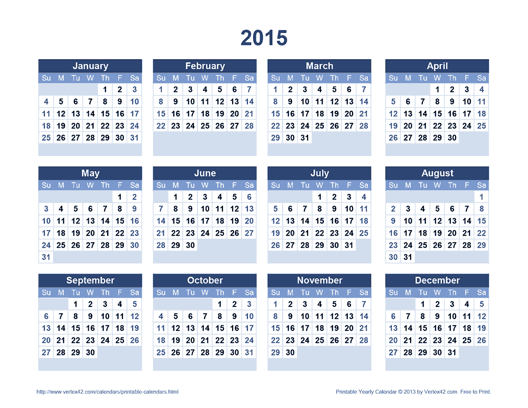 Download A Free Printable 2015 Yearly Calendar From Vertex42