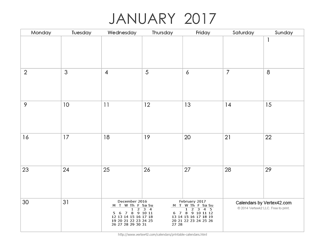 Download A Free Printable Ink Saver 2017 Calendar From
