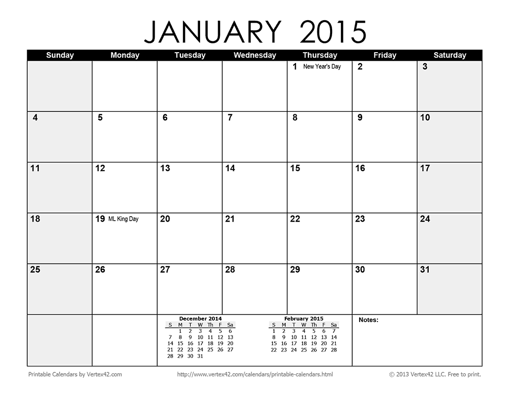 Download A Free Printable Monthly 2015 Calendar From