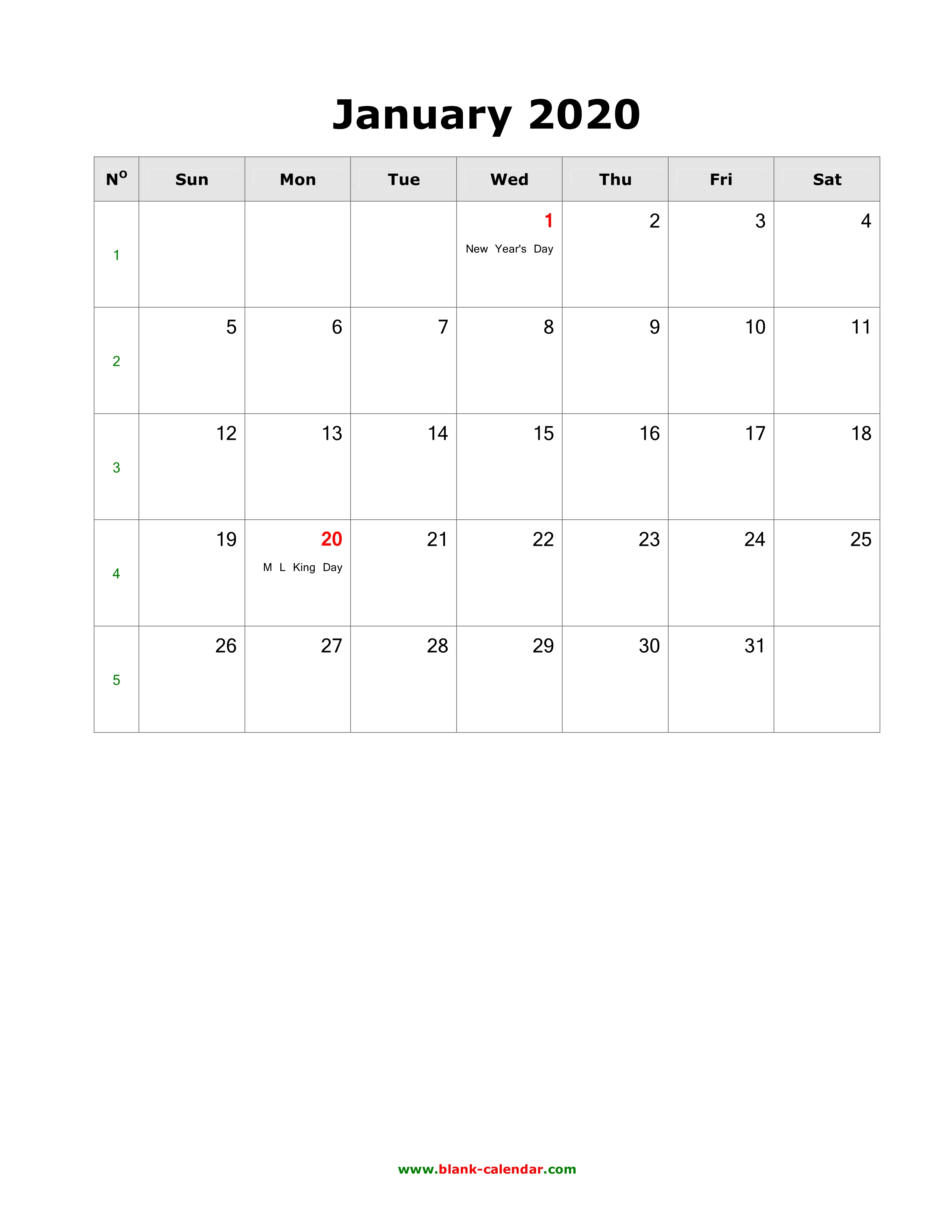 Download Blank Calendar 2020 With Us Holidays (12 Pages, One