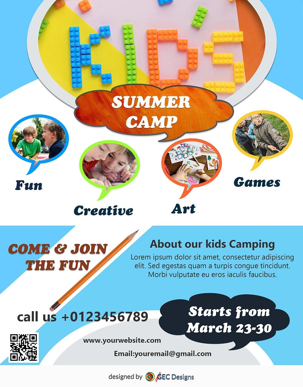 Download Free Kids Summer Camp Flyer Design Templates