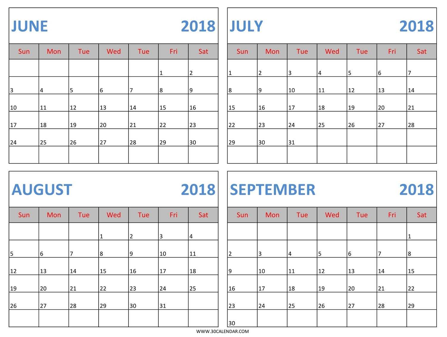 Download June July August September 2018 Calendar Template