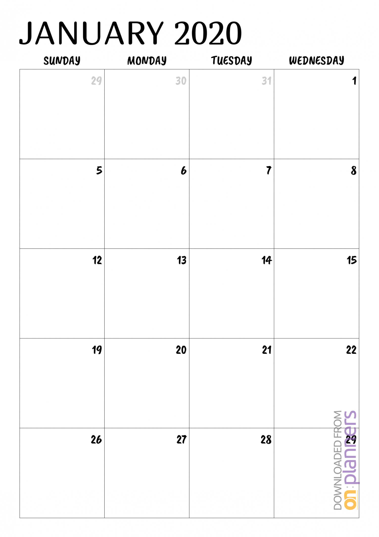 Download Printable Minimal Monthly Calendar Pdf