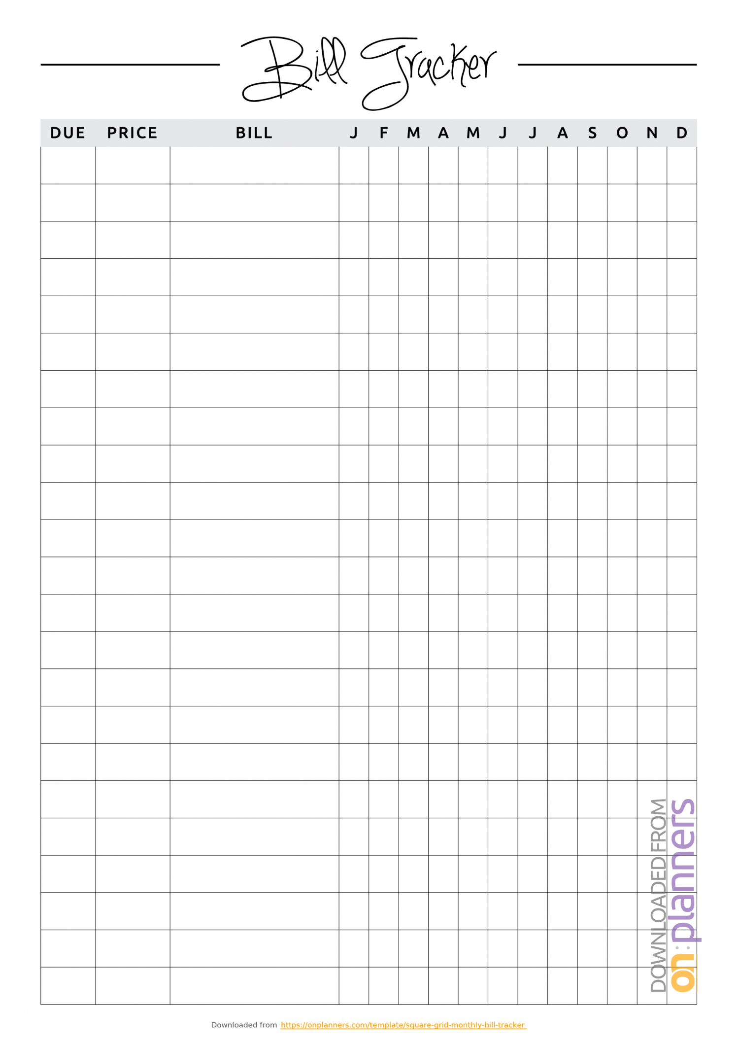 Download Printable Square Grid Monthly Bill Tracker Pdf