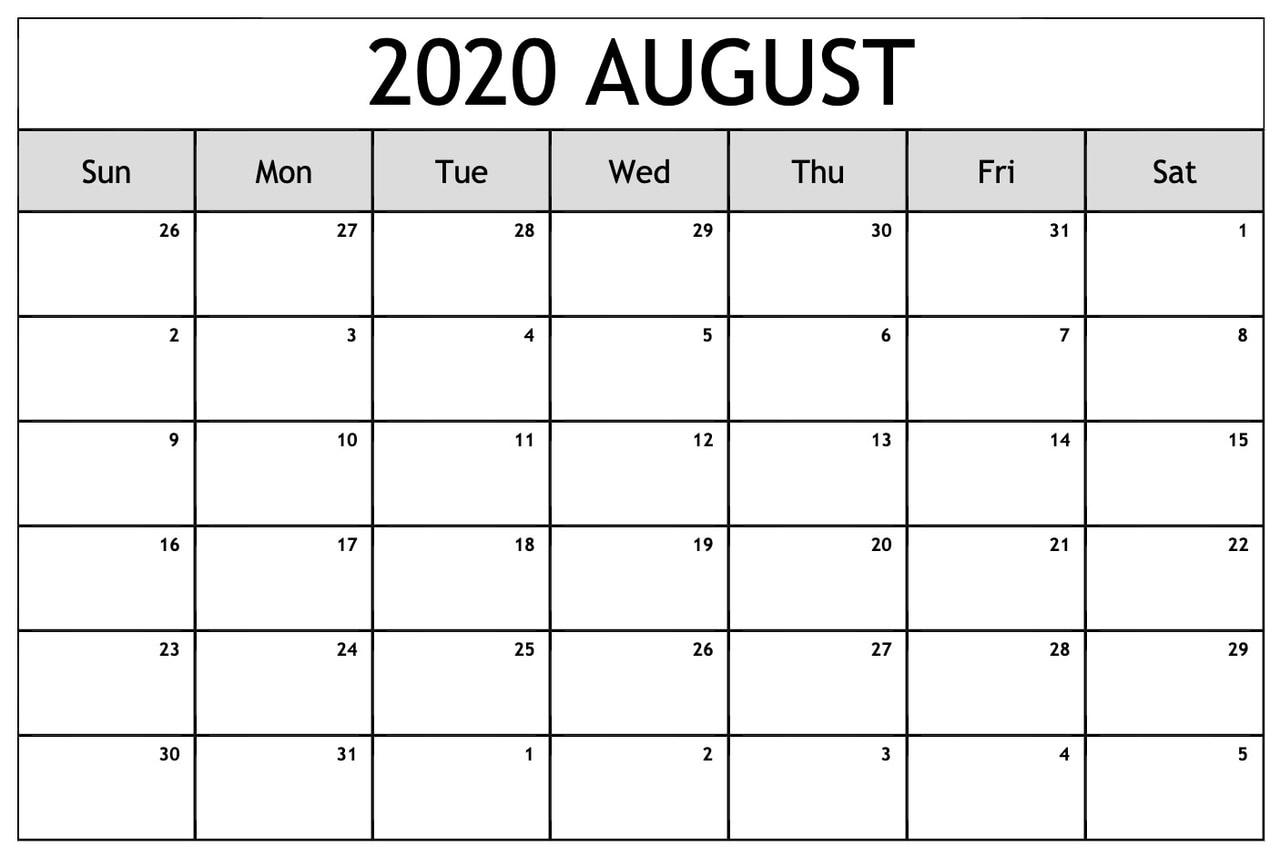 ❤️free 2020 August Printable Calendar Templates [Pdf