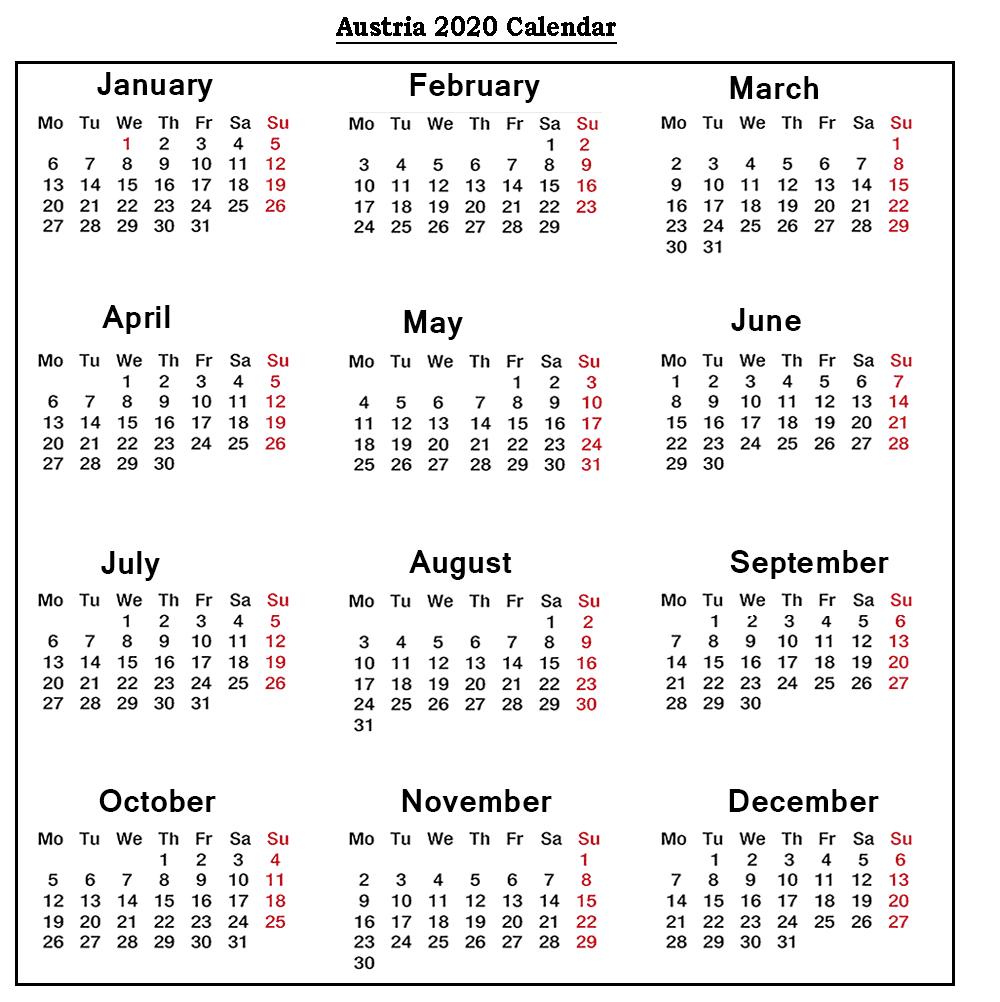 ❤️free Austria 2020 Printable Calendar With Public