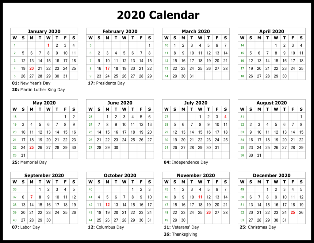 ❤️free Yearly 2020 Printable Calendar Templates [Pdf, Word