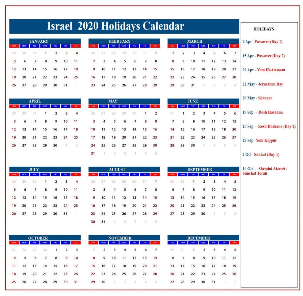 ❤️israel Holidays Calendar 2020 | Israel Jewish Holidays