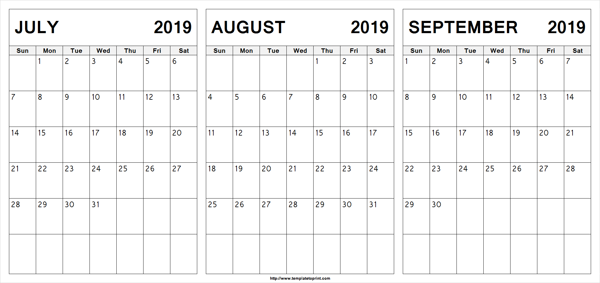Edit Printable July August September 2019 Calendar