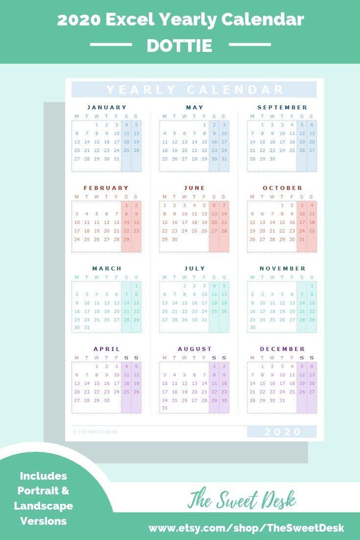 Editable 2020 Excel Yearly Calendar Template   Printable